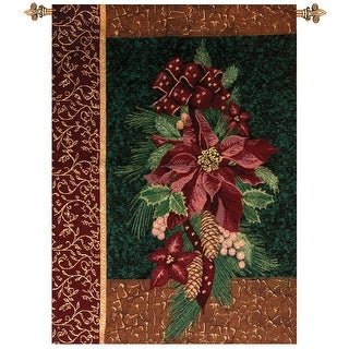 """Winter Poinsettia with Christmas Pine Cotton Tapestry Wall Hanging 36"""" x 26"""""""