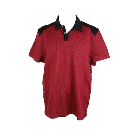 Alfani Red Black Slim-Fit Geometric Print Polo Shirt XL