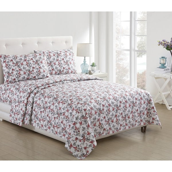 Jasmine Floral Printed 3-Piece and 4 Piece Sheet Set, Coral, Twin