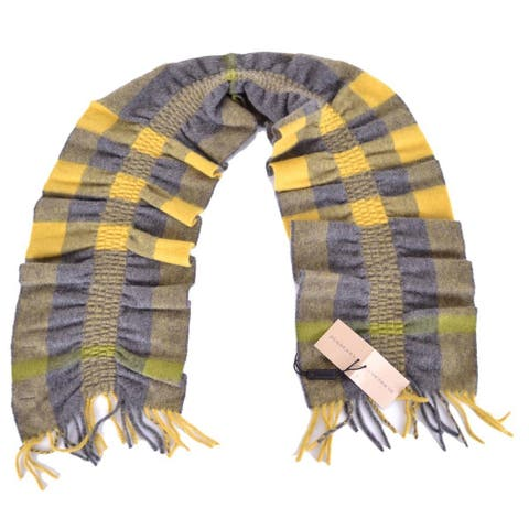 "Burberry Cashmere Lemon Quartz Yellow Nova Check Ruched Scarf Muffler - 55"" x 8"""