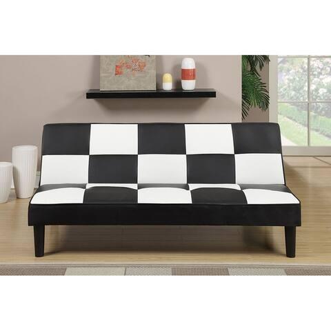 Black/White Checker Futon Adjustable Sofa