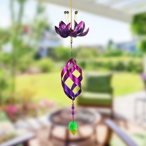 Exhart Spinning Lotus Flower with Metal Spiral and Chime Hanging Decor, 7.5 by 23 Inches