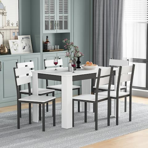 7-PICES Dining Table Set For 6-person
