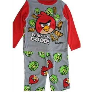 Angry Birds Boys Grey Red Character Printed 2 Pc Pajama Set 8-10