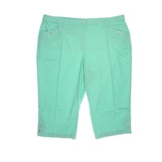 Karen Scott Womens Plus Twill Cropped Capri Pants