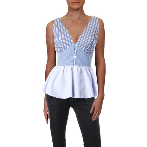 Aqua Womens Peplum Top Striped V-Neck