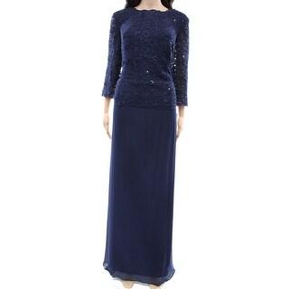 Alex Evenings NEW Blue Lace Bodice Women's Size 14W Plus Ball Gown