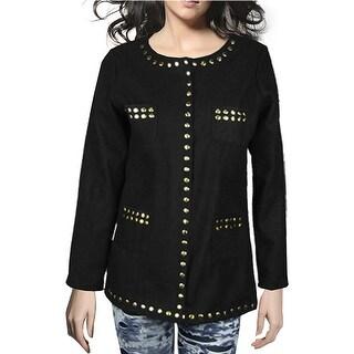 Unique Bargains Front 4-Pockets Long Sleeves Black Cardigan Coat Sz XS