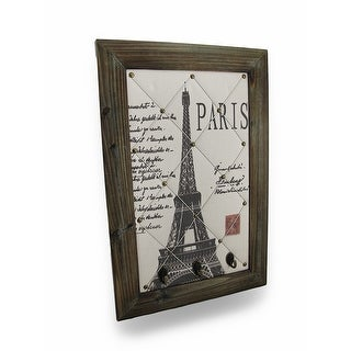 Vintage Style Eiffel Tower Paris Postcard Wall Hanging with Key Hooks