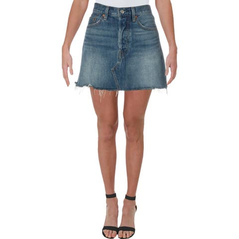Levi's Womens Deconstructed Denim Skirt Mini Button Fly - Middle Man - 27