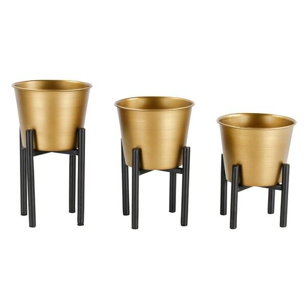 Aspire Home Accents 6435 Armas Three Piece Metal Planter Set - Gold