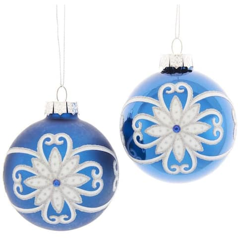 Kurt Adler 80MM Shiny and Matte Blue with White and Silver Flowers Glass Ball Ornaments, 6-Piece Set