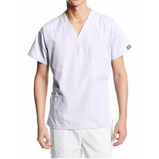 Cherokee NEW White Mens Size Small S Multi-Pocket V-Neck Medical Scrub Top 383