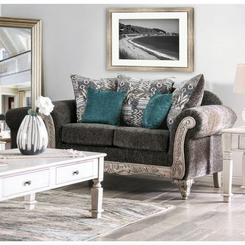 Furniture of America Tuva Traditional Grey Chenille Loveseat