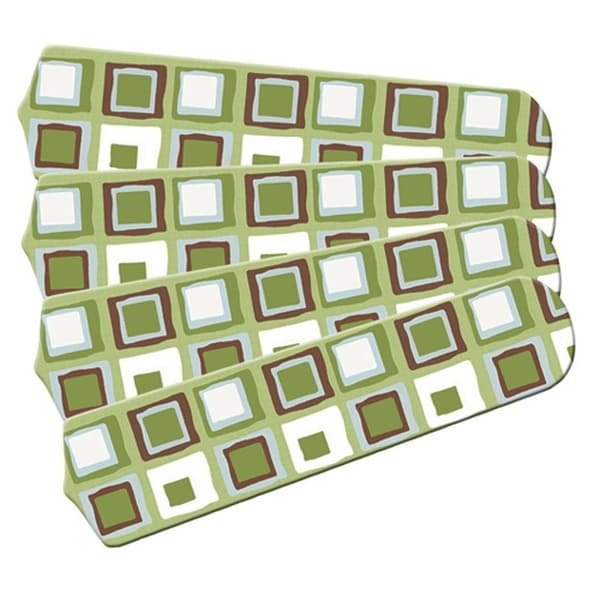 Green White Mod Squares Designer 42in Ceiling Fan Blades Set - Multi