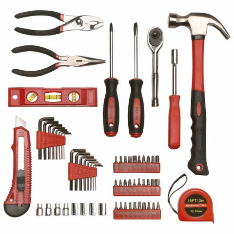 65 Piece Tool Set, General Household Hand Tool Kit with Storage Carry Case, Hammer, Screwdrivers, Ratchet, Sockets, Pliers, More