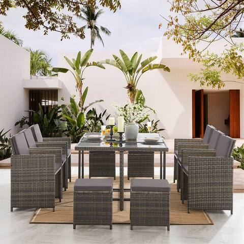 11 Pieces Outdoor Patio Furniture Dining Sets with Cushions, Wicker Furniture Set with Dining Table