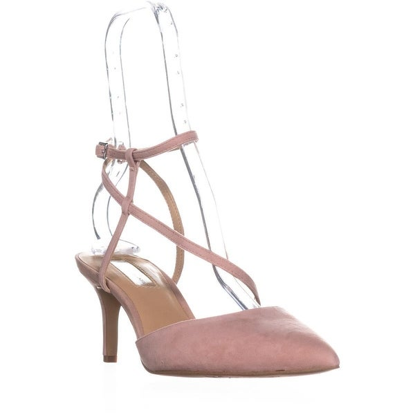 I35 Leniil Pointed Toe Buckle Kitten Sandals, Blush Suede