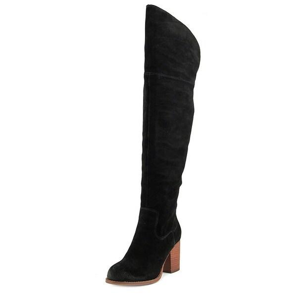 Splendid Loretta Women Round Toe Suede Black Over the Knee Boot