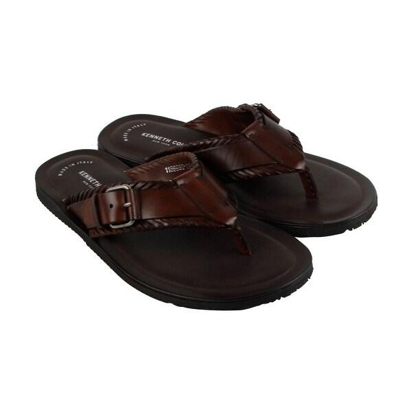 Kenneth Cole New York Design 108393 Mens Brown Leather Flip Flops Sandals Shoes