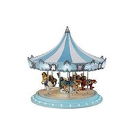mr christmas animated musical frosted carousel decoration 79151 blue