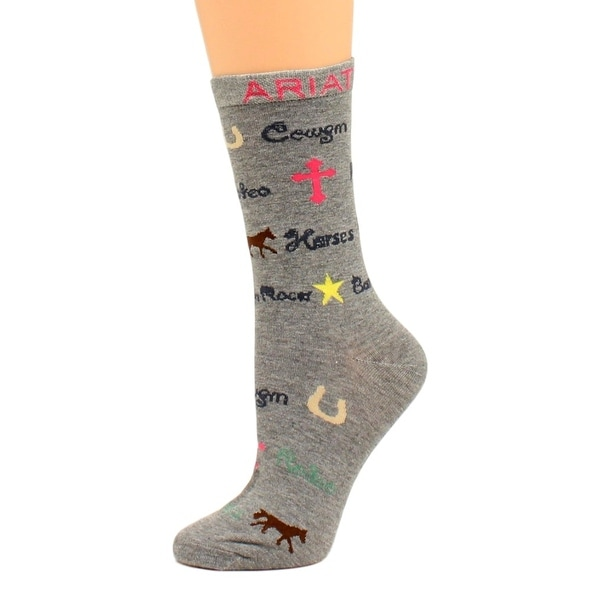 Ariat Western Socks Womens Crew Cowgirl Horse One Size Gray - One size