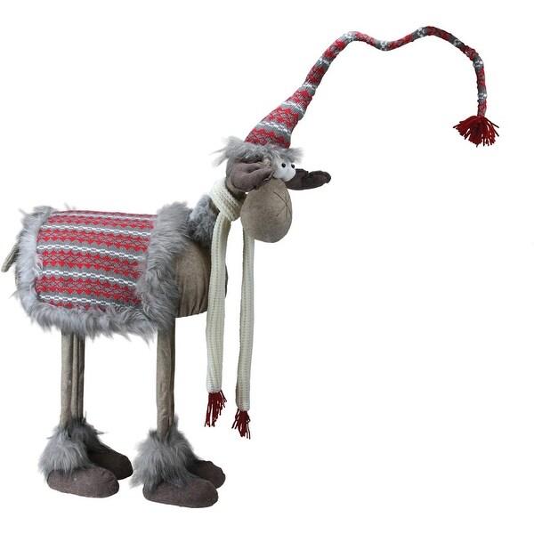 "29"" Decorative Standing Bobble Action Nordic Christmas Moose Figure"