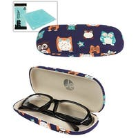 JAVOedge Whimsical Owl Character Printed Pattern Hard Clam Shell Eyeglass Case Bonus Microfiber Cleaning Cloth