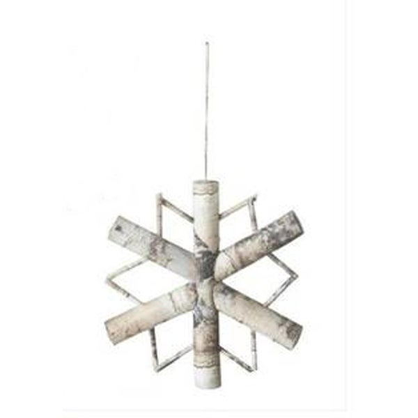 "8"" Snowy Winter Country Rustic Style Frosted Snowflake Christmas Ornament - WHITE"