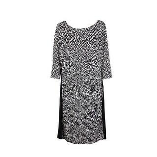 Lauren Ralph Lauren Plus Size Black Cream Printed Sheath Dress 22W