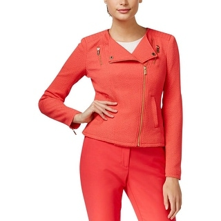 Calvin Klein Womens Jacket Textured Asymmetric Zip