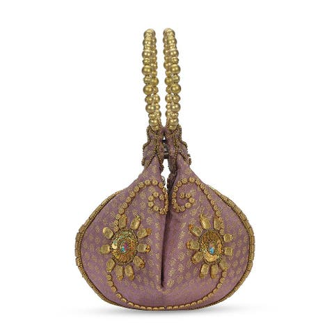 Purple Dottune Brocade Bead Mauve Embroidered Potli Fortune Cookie Bag