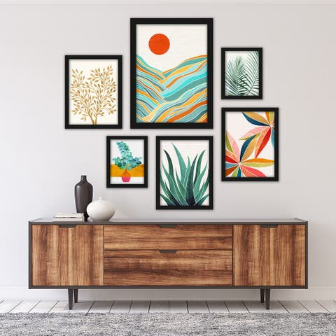 Modern Tropical Greenery - 6 Piece Framed Print Gallery Wall Art Set