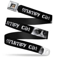 Grumpy Cat Face Full Color Black Grumpy Cat W Face Close Up Black White Seatbelt Belt