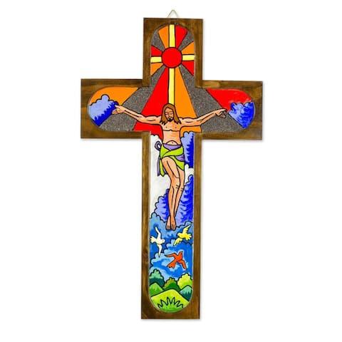 NOVICA Handmade Splendor of Jesus Wood Wall Cross (El Salvador)