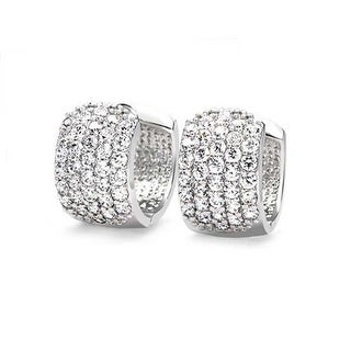 Bling Jewelry Round Cubic Zirconia Five Row Pave Wide Small Hoop Hoop Earrings Rhodium Plated Brass