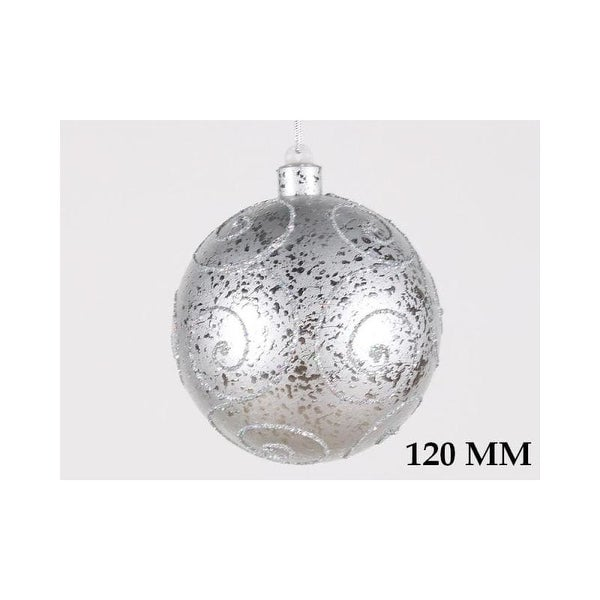Christmas at Winterland WL-BALL-120-SLV 4.7 Inch Ball Ornament Silver with Silver Glitter
