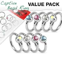 Value Pack 4 Pairs Crystal Ball Annealed Surgical Steel Captive Bead Rings