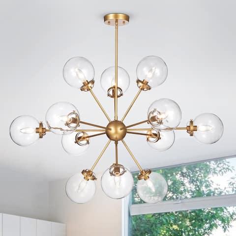 Masakee 12-light Sputnik Metal Chandelier with Clear Glass Globe Shades