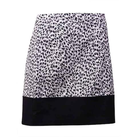 MICHAEL Michael Kors Women's Printed Cotton Blend Mini Skirt (12, Black) - Black - 12