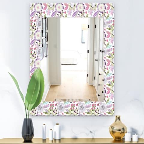 Designart 'Pink Blossom 9' Modern Mirror - Frameless Wall Mirror