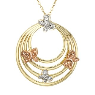 Circle Pendant with Butterflies & Diamond in 18K Gold-Plated Sterling Silver