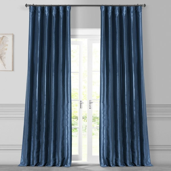 Exclusive Fabrics Solid Faux Silk Taffeta Navy Blue Curtain Panel. Opens flyout.