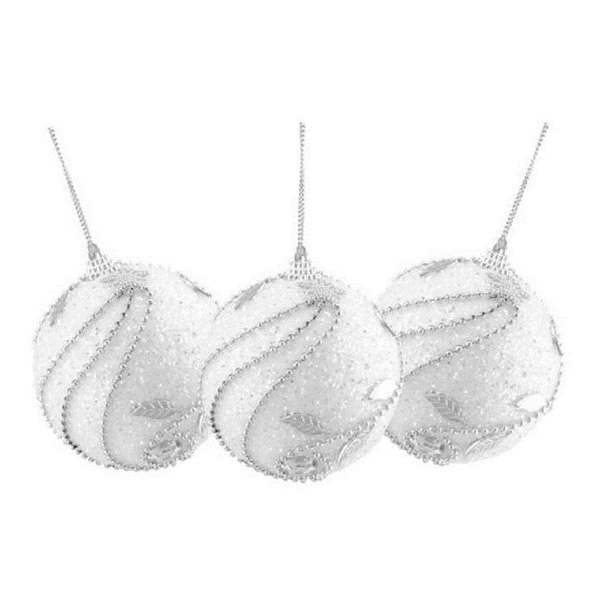 Set of 3 White and Silver Glittered Confetti Shatterproof Christmas Ball Ornaments 3""