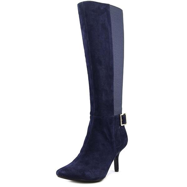 Calvin Klein Julietta Women Round Toe Suede Blue Knee High Boot