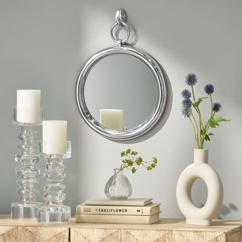 """Rumley Modern Handcrafted Round Aluminum Wall Mirror by Christopher Knight Home - 12.00"""" L x 1.00"""" W x 15.00"""" H"""