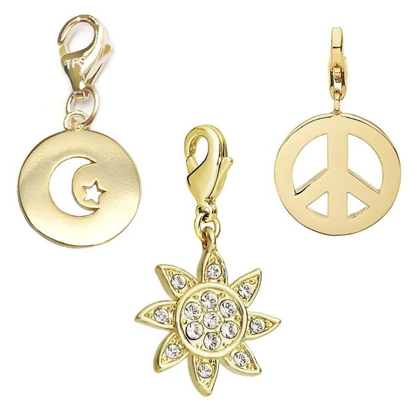 Julieta Jewelry Sun, Moon & Star, Peace Sign 14k Gold Over Sterling Silver Clip-On Charm Set