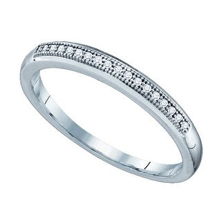 10k White Gold Womens Natural Round Diamond Bridal Wedding Anniversary Band 1/20 Cttw