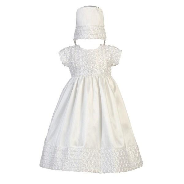 Baby Girls White Ribbon Taffeta Christening Easter Hat Dress Set 0-18M