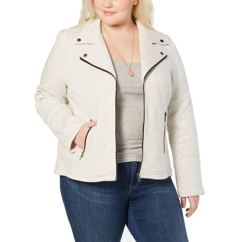 Style & Co. Womens Jacket Gray Size 4X Plus Zip Front Flip Notch-Collar